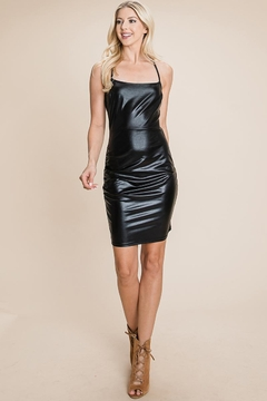 ROLYPOLY Apparel Bodycon Faux Leather Spaghetti Strap Mini Dress - Product List Image