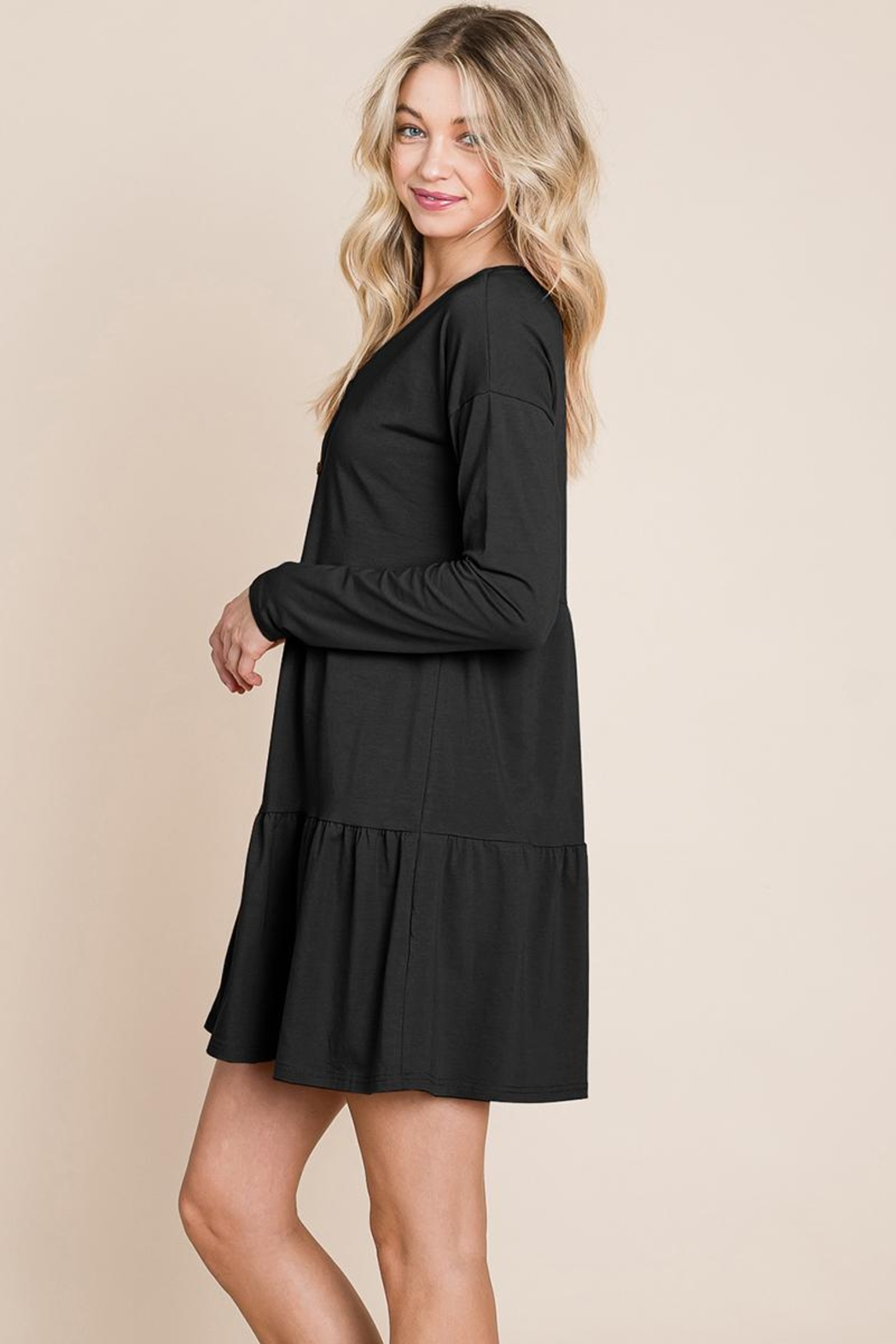 ROLYPOLY Apparel Button Front Long Sleeve Pleated Swing Dresses - Front Full Image