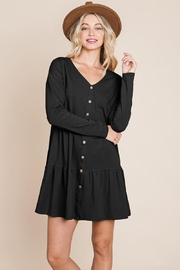 ROLYPOLY Apparel Button Front Long Sleeve Pleated Swing Dresses - Other