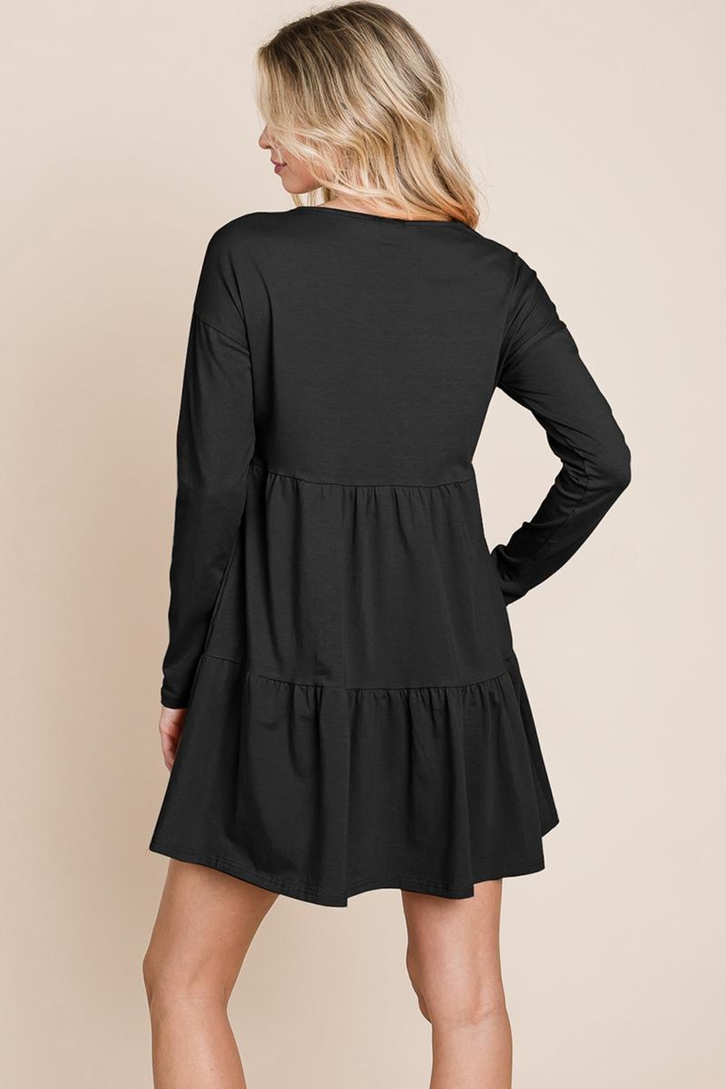 ROLYPOLY Apparel Button Front Long Sleeve Pleated Swing Dresses - Back Cropped Image