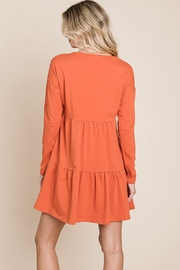 ROLYPOLY Apparel Button Front Long Sleeve Pleated Swing Dresses - Side cropped