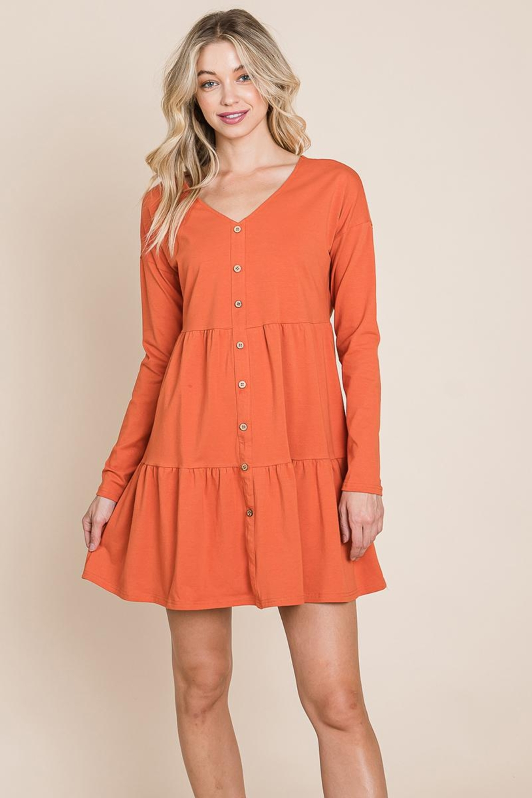 ROLYPOLY Apparel Button Front Long Sleeve Pleated Swing Dresses - Front Cropped Image