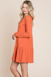 ROLYPOLY Apparel Button Front Long Sleeve Pleated Swing Dresses - Front full body