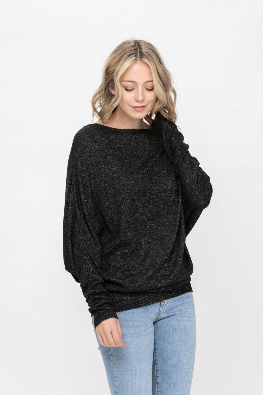 ROLYPOLY Apparel Casual Pullover Dolman Batwing Sweater - Back Cropped Image