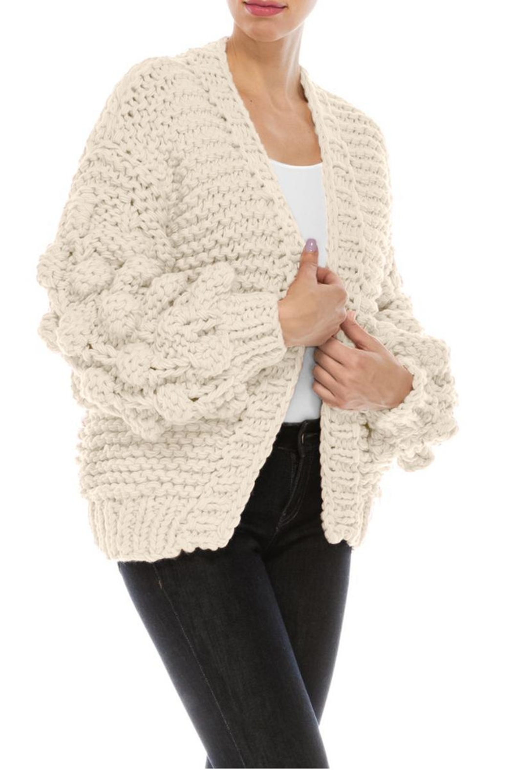 ROLYPOLY Apparel Chunky Pom Pom Sleeve Sweater - Front Full Image