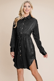 ROLYPOLY Apparel Collared Button Down Drawstring Tie Waist Mini Dress - Product Mini Image