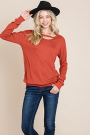 ROLYPOLY Apparel Cut Out Knit Sweatshirts Tops - Product Mini Image