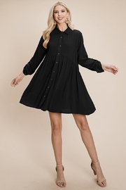 ROLYPOLY Apparel Full Front Buttons Point Collar Shirt Dress Tunics - Product Mini Image