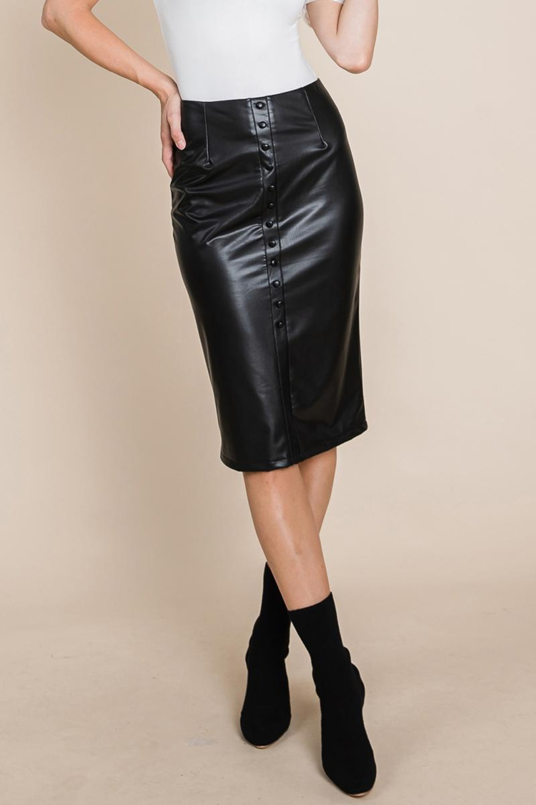 ROLYPOLY Apparel High Waisted Faux Leather Midi Pencil Skirt - Front Full Image