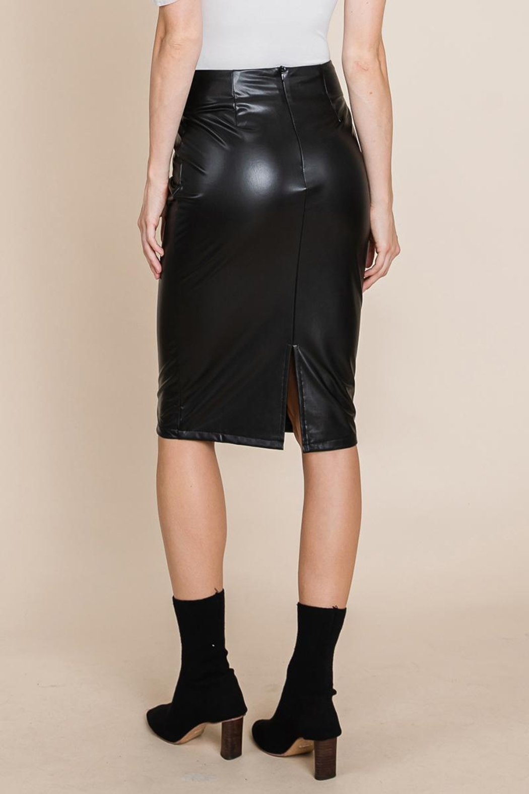 ROLYPOLY Apparel High Waisted Faux Leather Midi Pencil Skirt - Back Cropped Image
