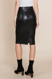 ROLYPOLY Apparel High Waisted Faux Leather Midi Pencil Skirt - Back cropped