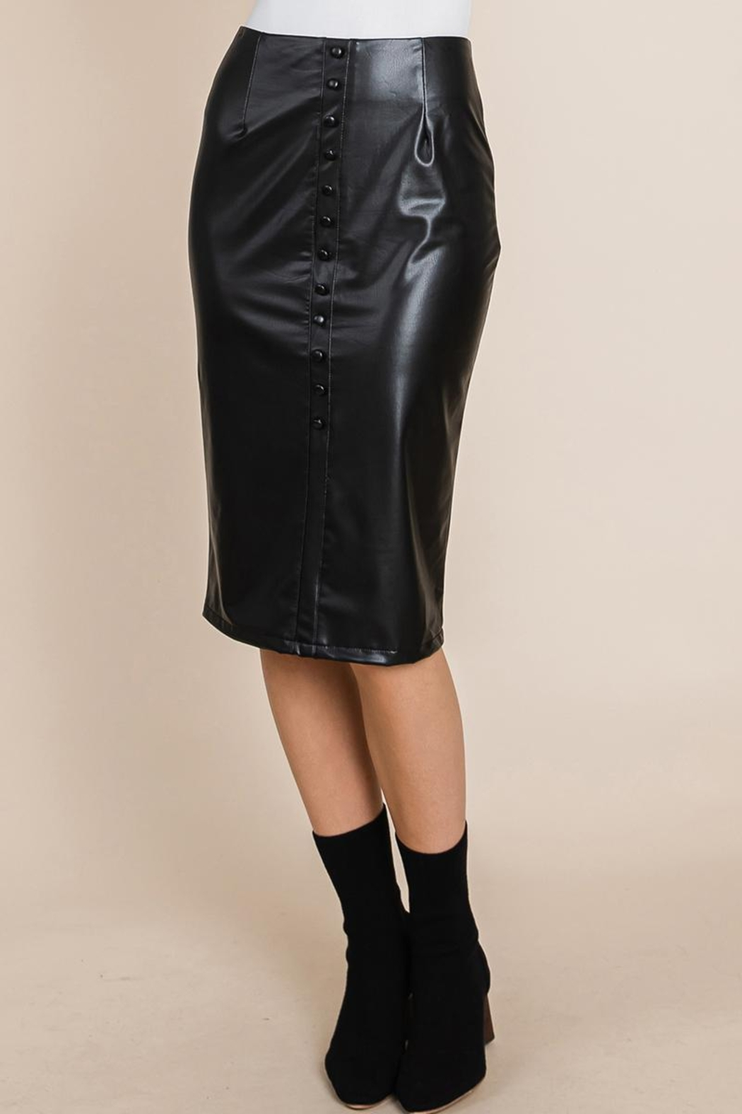 ROLYPOLY Apparel High Waisted Faux Leather Midi Pencil Skirt - Main Image
