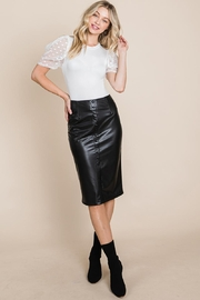 ROLYPOLY Apparel High Waisted Faux Leather Midi Pencil Skirt - Other