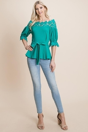 ROLYPOLY Apparel Lace Crochet Self Belted Off The Shoulder Zip Top - Product Mini Image