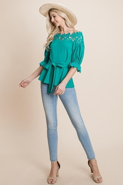 ROLYPOLY Apparel Lace Crochet Self Belted Off The Shoulder Zip Top - Alternate List Image