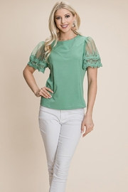 ROLYPOLY Apparel Lace Embroidered Trim Tops Blouses - Product Mini Image