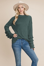 ROLYPOLY Apparel Long Sleeve Ruffle Layered Shirred Sweaters Shirts - Product Mini Image
