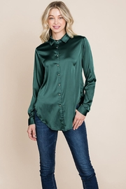 ROLYPOLY Apparel Long Sleeve Satin Button Down Silk Blouse Shirts - Product Mini Image