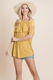 ROLYPOLY Apparel Off The Shoulder Tops Layered Front Lace Detail - Product Mini Image