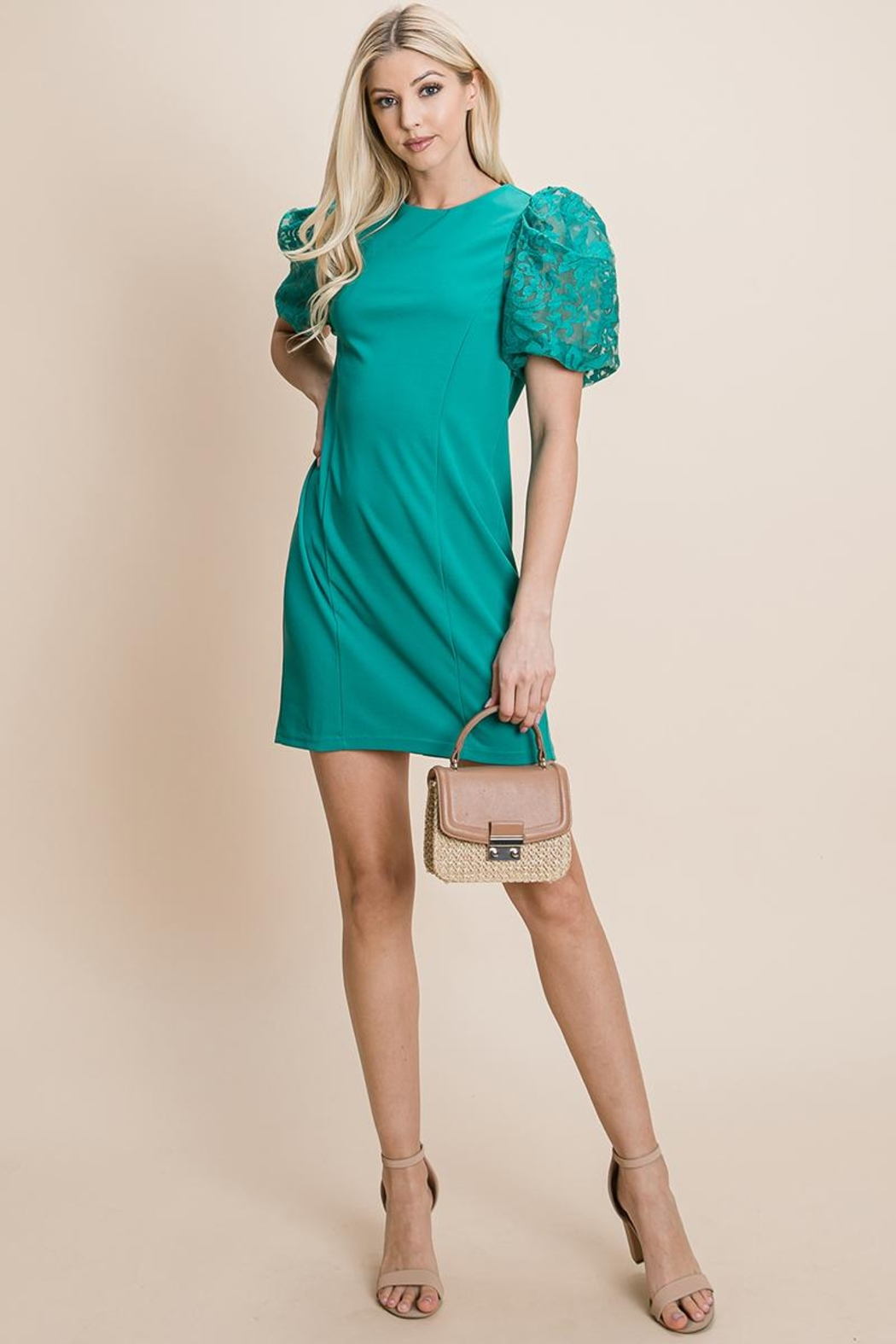 ROLYPOLY Apparel Puffed Contrast Flower Embroidered Sheath Dress - Back Cropped Image