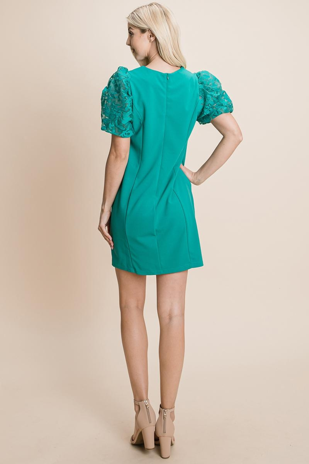 ROLYPOLY Apparel Puffed Contrast Flower Embroidered Sheath Dress - Side Cropped Image