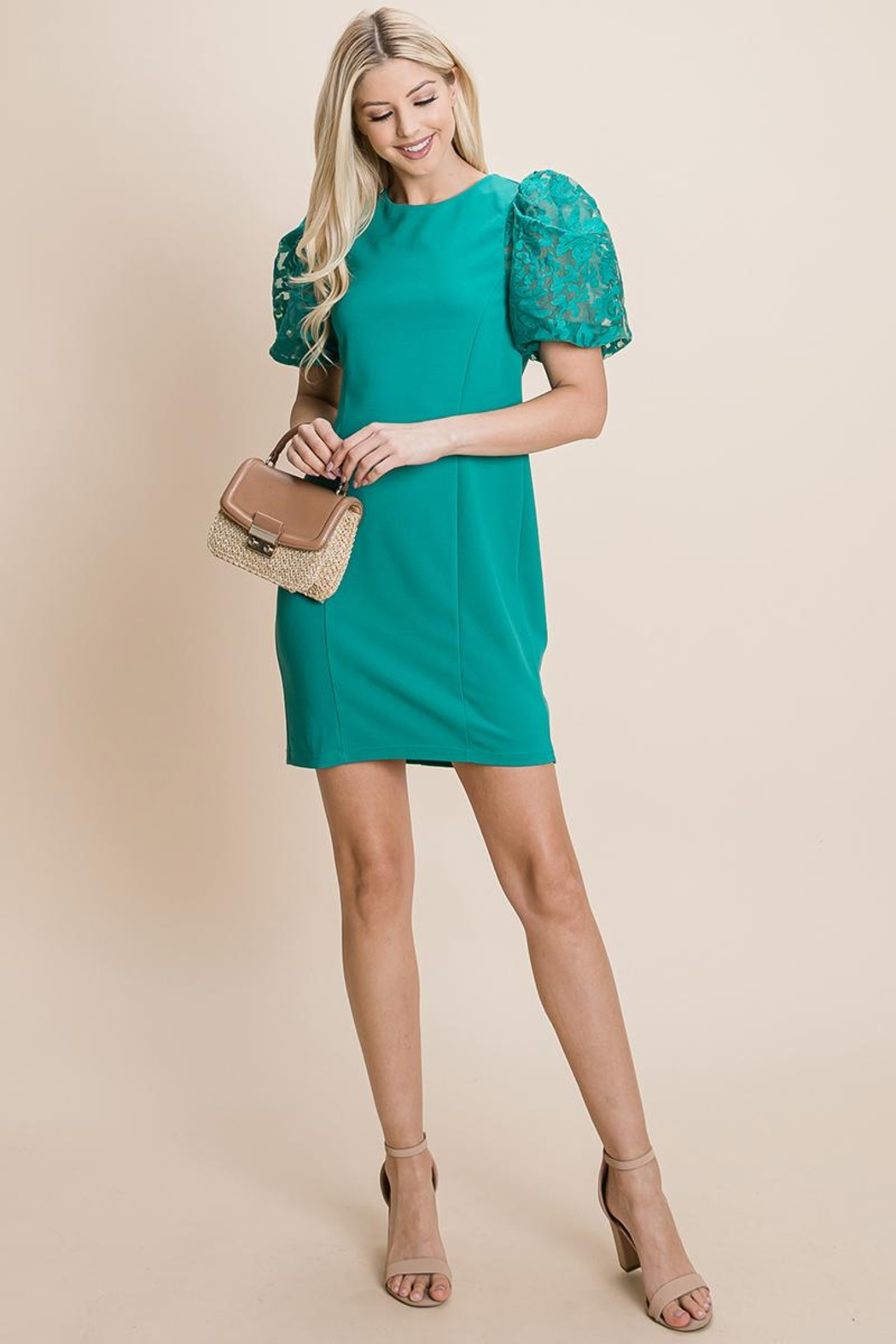 ROLYPOLY Apparel Puffed Contrast Flower Embroidered Sheath Dress - Front Cropped Image