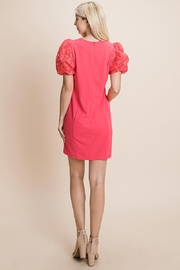 ROLYPOLY Apparel Puffed Contrast Flower Embroidered Sheath Dress - Side cropped