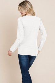 ROLYPOLY Apparel Scalloped Neck Button Placket Lace Sleeve Top - Side cropped