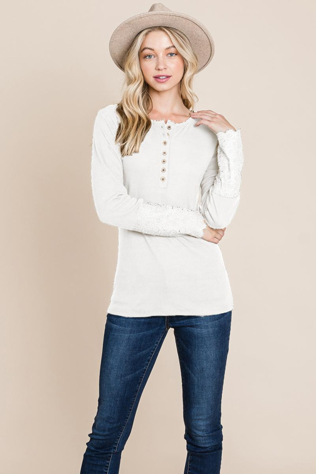 ROLYPOLY Apparel Scalloped Neck Button Placket Lace Sleeve Top - Front Cropped Image