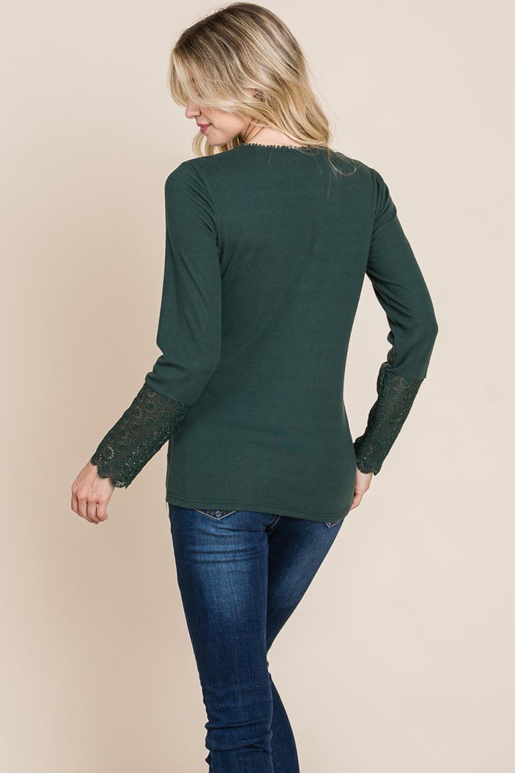 ROLYPOLY Apparel Scalloped Neck Button Placket Lace Sleeve Top - Back Cropped Image