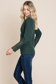 ROLYPOLY Apparel Scalloped Neck Button Placket Lace Sleeve Top - Other