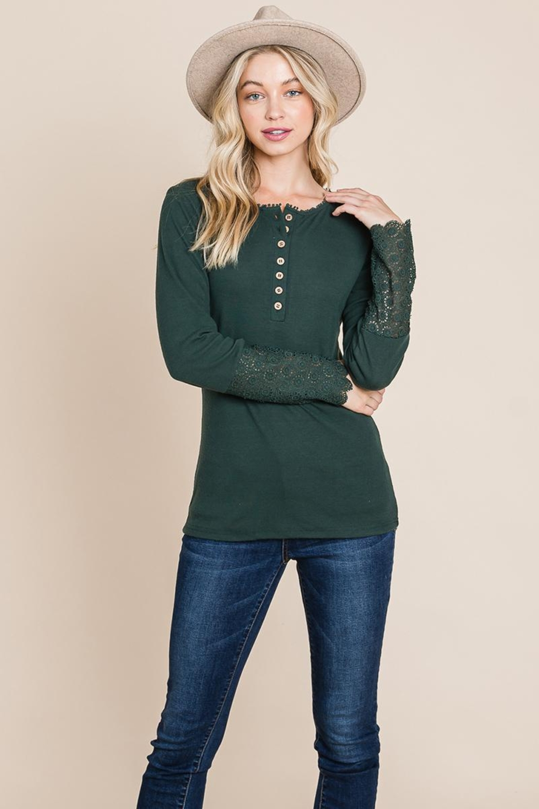 ROLYPOLY Apparel Scalloped Neck Button Placket Lace Sleeve Top - Main Image