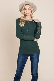 ROLYPOLY Apparel Scalloped Neck Button Placket Lace Sleeve Top - Product Mini Image