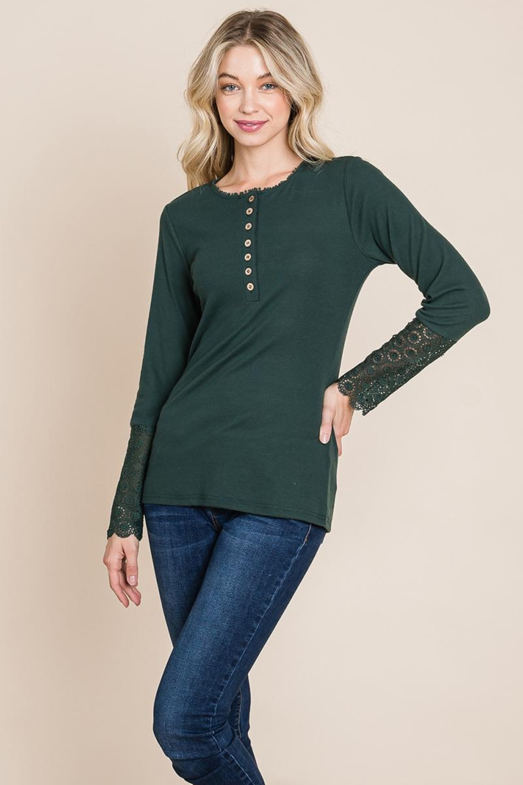 ROLYPOLY Apparel Scalloped Neck Button Placket Lace Sleeve Top - Front Full Image