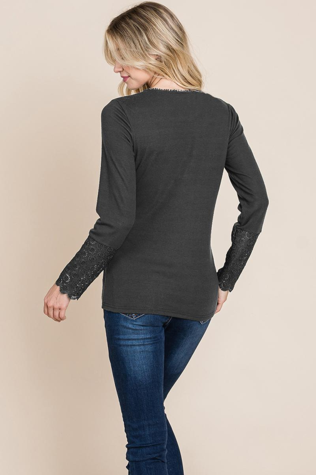 ROLYPOLY Apparel Scalloped Neck Button Placket Lace Sleeve Top - Side Cropped Image