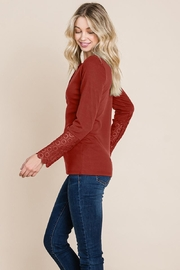 ROLYPOLY Apparel Scalloped Neck Button Placket Lace Sleeve Top - Front full body