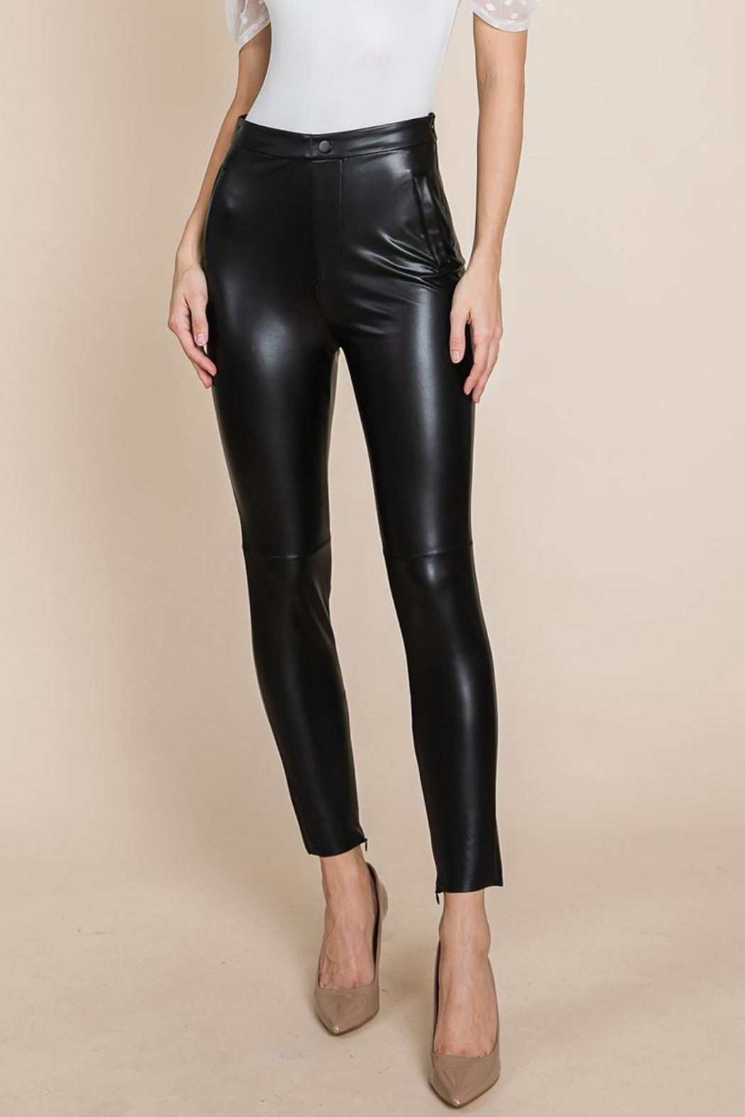 ROLYPOLY Apparel Slit Hem Faux Leather Pants With Invisible Zipper - Main Image