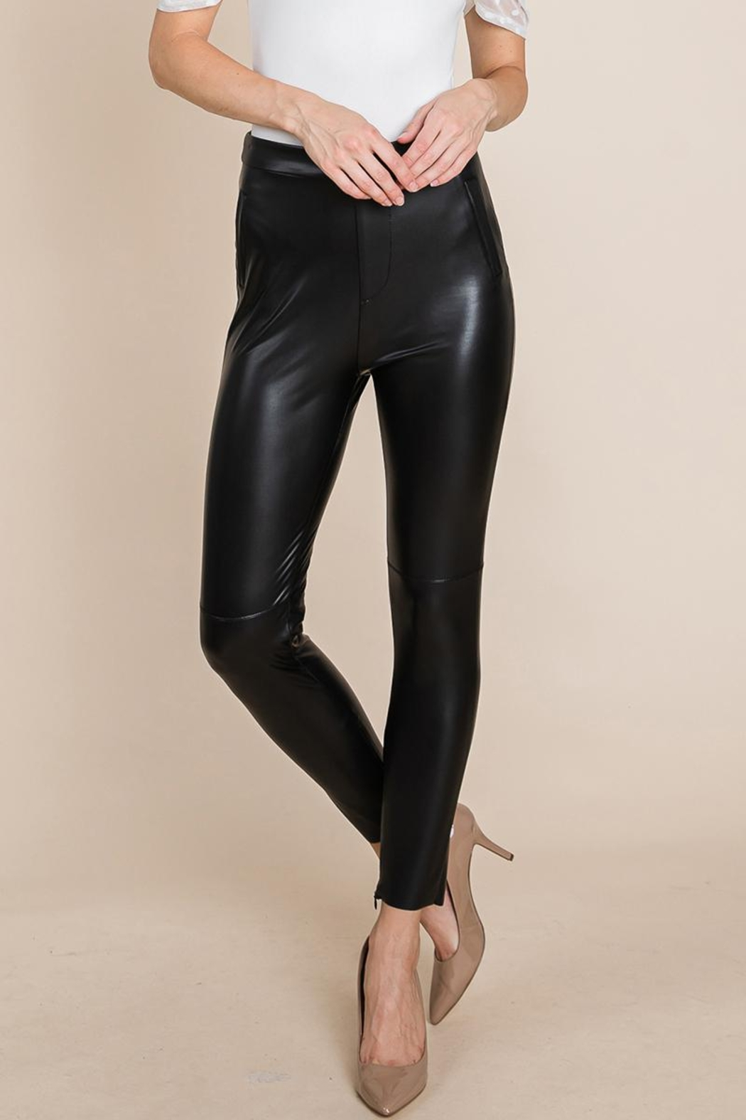 ROLYPOLY Apparel Slit Hem Faux Leather Pants With Invisible Zipper - Front Full Image