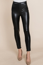 ROLYPOLY Apparel Slit Hem Faux Leather Pants With Invisible Zipper - Other