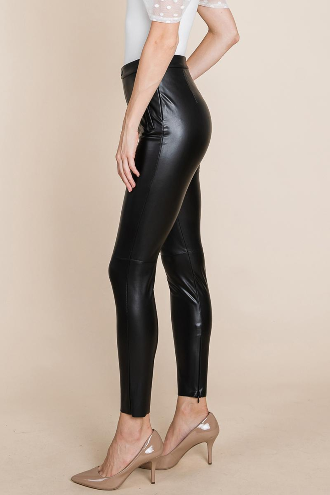 ROLYPOLY Apparel Slit Hem Faux Leather Pants With Invisible Zipper - Side Cropped Image