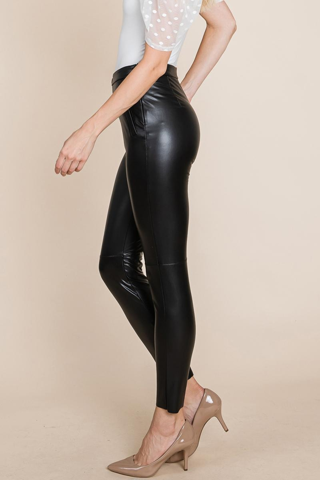 ROLYPOLY Apparel Slit Hem Faux Leather Pants With Invisible Zipper - Back Cropped Image