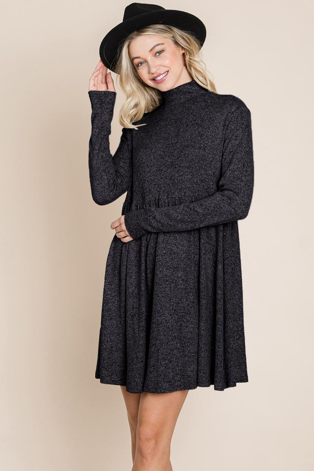 ROLYPOLY Apparel Turtle Neck Hacci Pleated Layered Swing Dress - Main Image