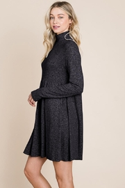 ROLYPOLY Apparel Turtle Neck Hacci Pleated Layered Swing Dress - Front full body
