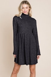 ROLYPOLY Apparel Turtle Neck Hacci Pleated Layered Swing Dress - Other