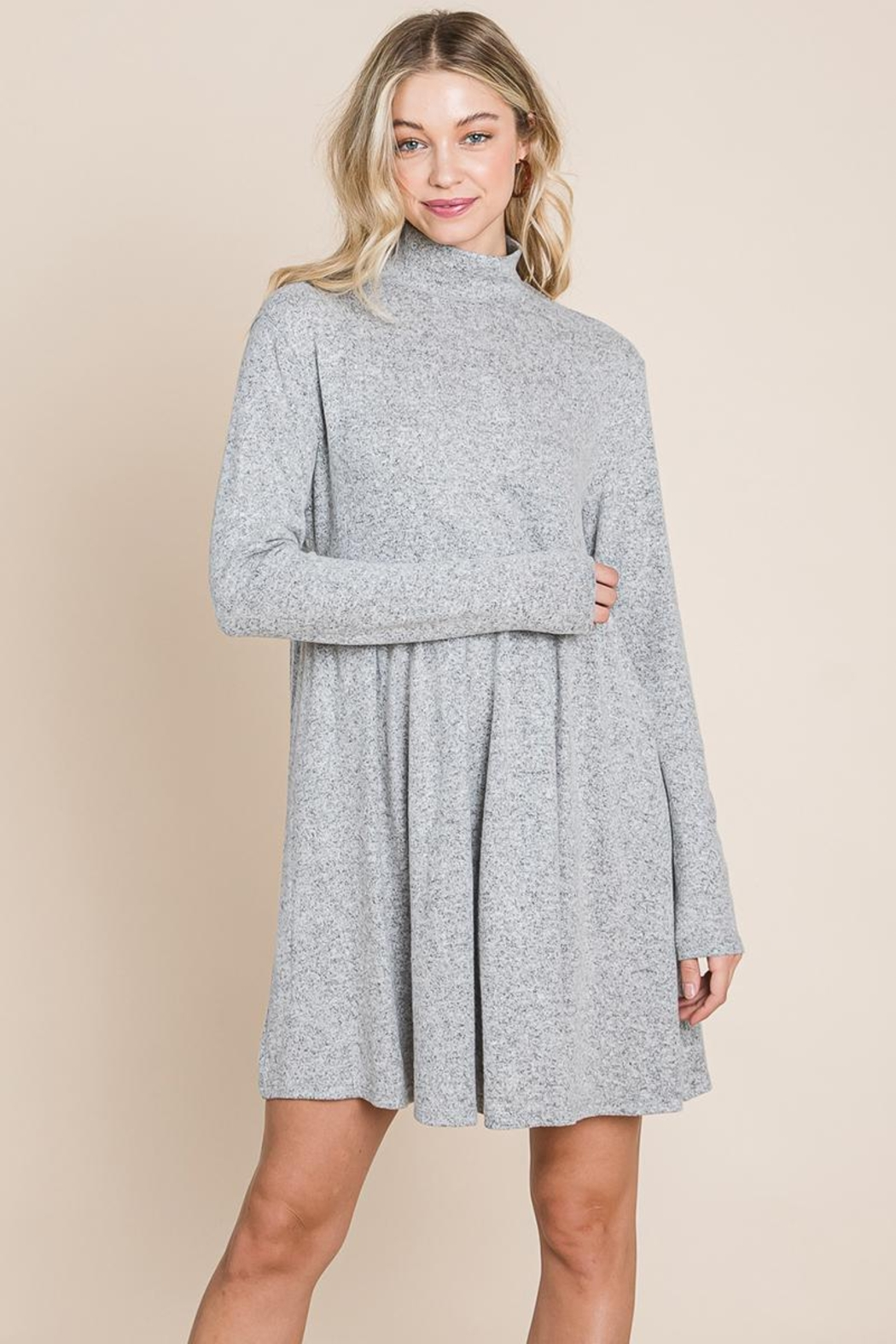 ROLYPOLY Apparel Turtle Neck Hacci Pleated Layered Swing Dress - Front Cropped Image