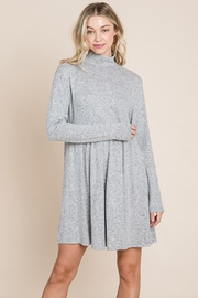 ROLYPOLY Apparel Turtle Neck Hacci Pleated Layered Swing Dress - Front cropped