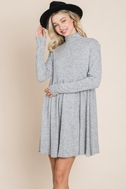 ROLYPOLY Apparel Turtle Neck Hacci Pleated Layered Swing Dress - Back cropped