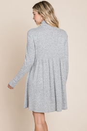 ROLYPOLY Apparel Turtle Neck Hacci Pleated Layered Swing Dress - Side cropped