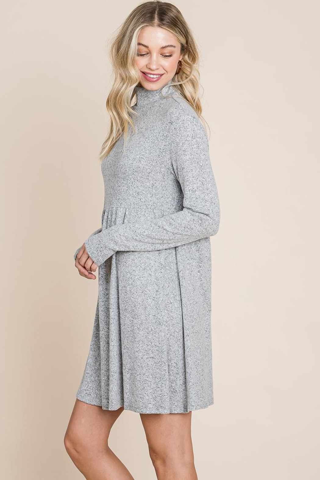 ROLYPOLY Apparel Turtle Neck Hacci Pleated Layered Swing Dress - Front Full Image