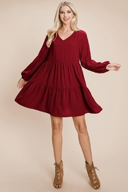 ROLYPOLY Apparel V Neck Loose Swing Shift Pleated Dresses - Product Mini Image